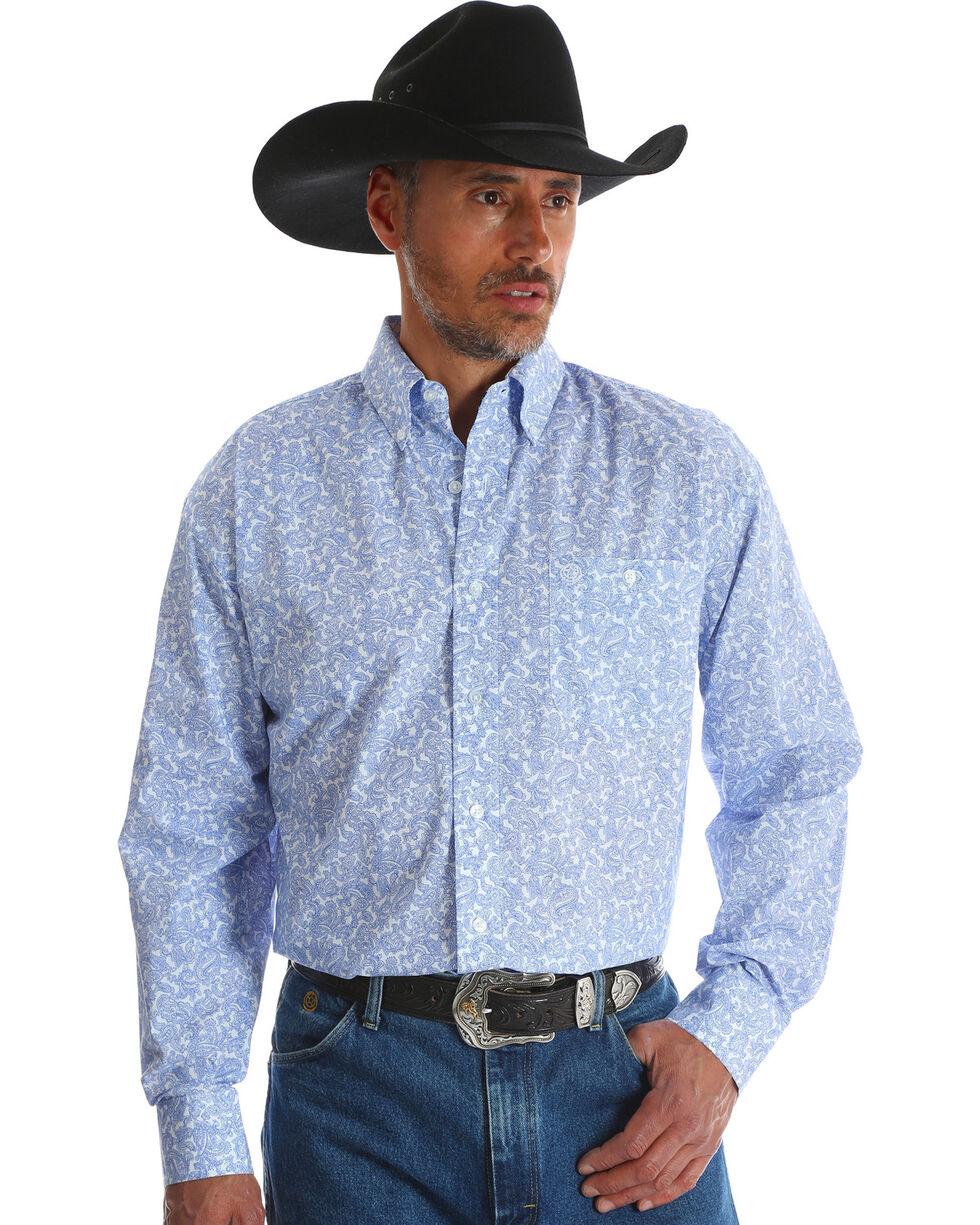Wrangler Men's George Strait Blue Printed Button Down Western Shirt , Blue, hi-res
