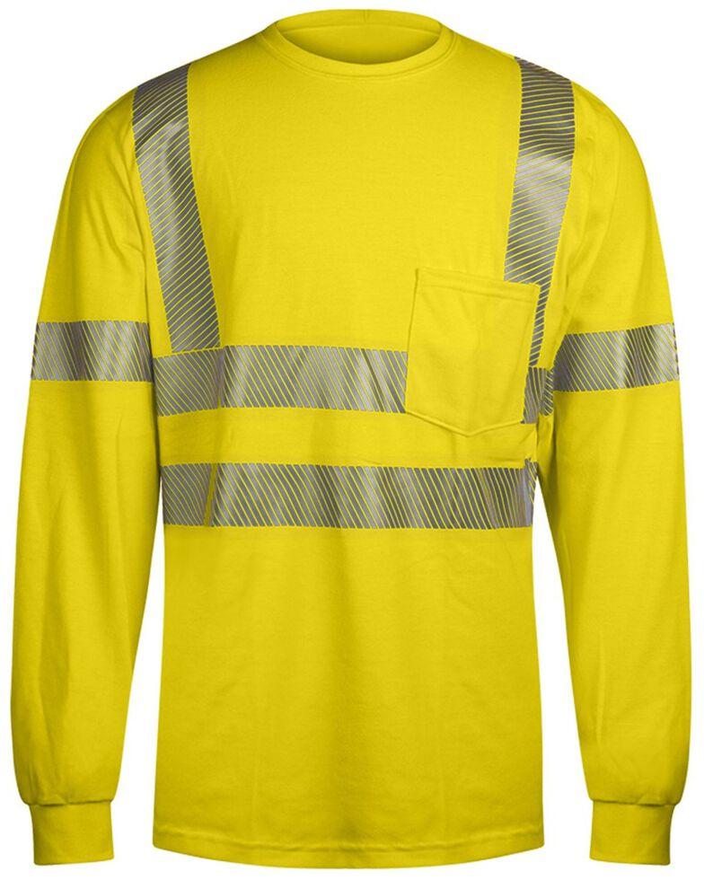 National Safety Apparel Men's Vizable FR Hi-Vis Pocket Long Sleeve Work Shirt - Tall , Bright Yellow, hi-res