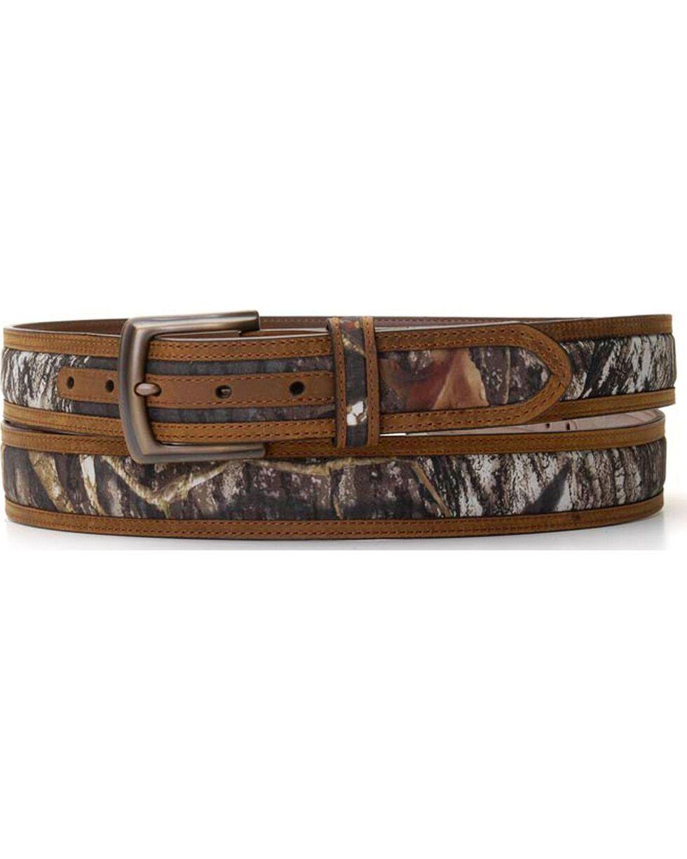 Nocona Men's Mossy Oak and Leather Belt, Camouflage, hi-res