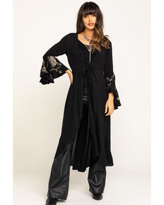 Aratta Women's Black Embroidered Bell Sleeve Kimono, Black, hi-res
