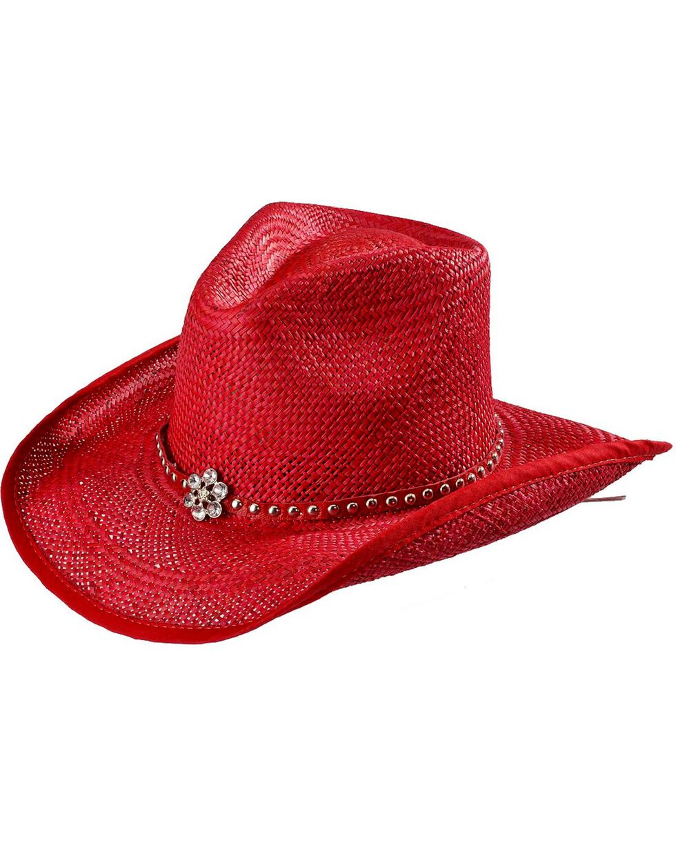 Bullhide All American Straw Cowgirl Hat, Red, hi-res