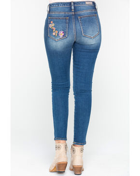 Miss Me Women's Floral Embroidered Ankle Skinny Jeans , Blue, hi-res