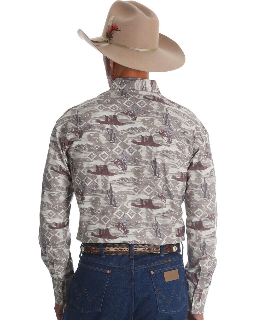 Wrangler Men's Khaki Checotah Horse Print Long Sleeve Shirt , Beige/khaki, hi-res
