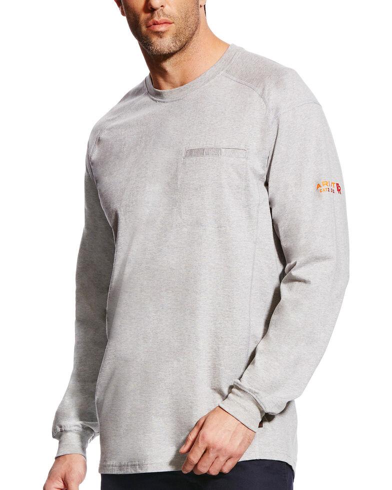 Ariat Men's FR Air Crew Long Sleeve Work Shirt - Tall, Grey, hi-res
