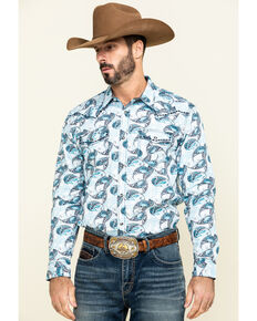 Cody James Men's Lovelace Large Paisley Print Long Sleeve Western Shirt - Big , White, hi-res