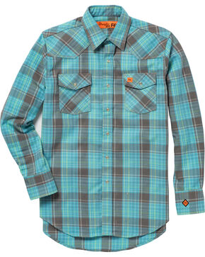 Wrangler Men's Turquoise 20X Flame-Resistant Shirt - Big & Tall , Turquoise, hi-res