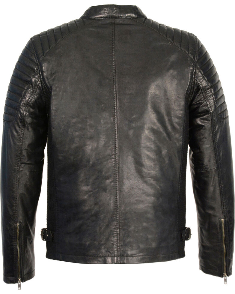 Milwaukee Leather Men's Quilted Shoulders Snap Collar Leather Jacket - 5X, , hi-res