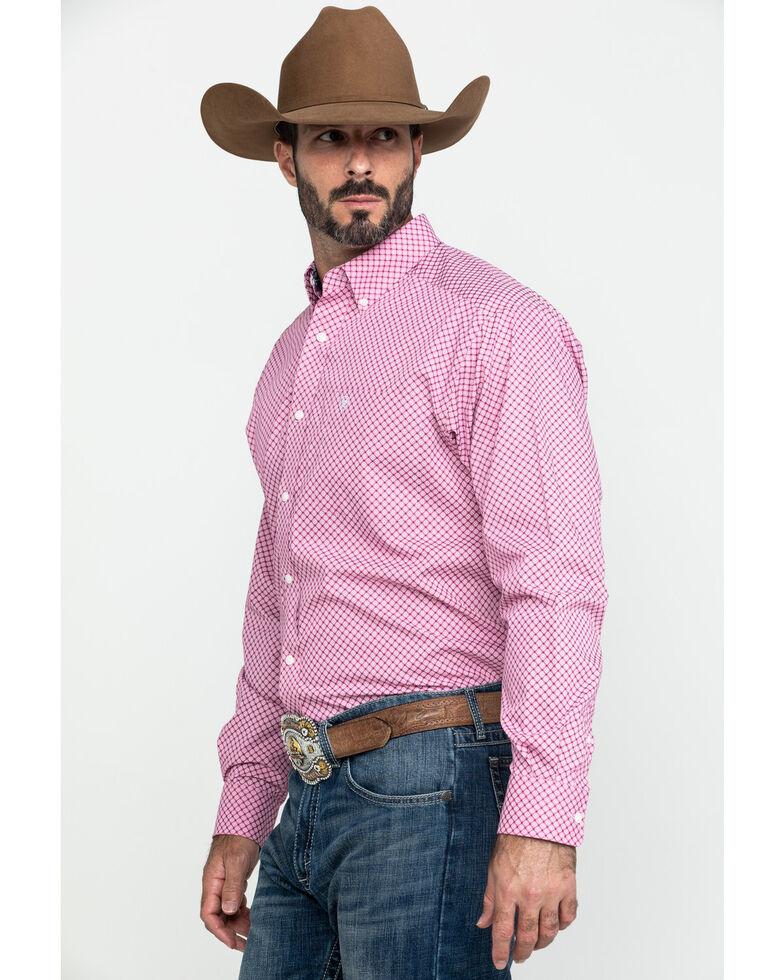 Ariat Men's Wrinkle Free Ipman Small Geo Print Long Sleeve Western Shirt - Big , Pink, hi-res