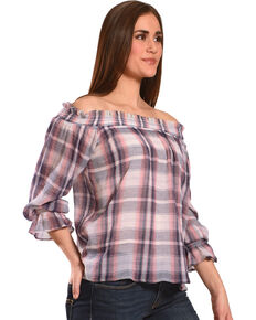 Ivory Love Women's Plaid Off-The-Shoulder Top, Pink, hi-res