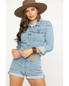 Wrangler Women's Modern Light Denim Playsuit Long Sleeve Romper, Light Blue, hi-res