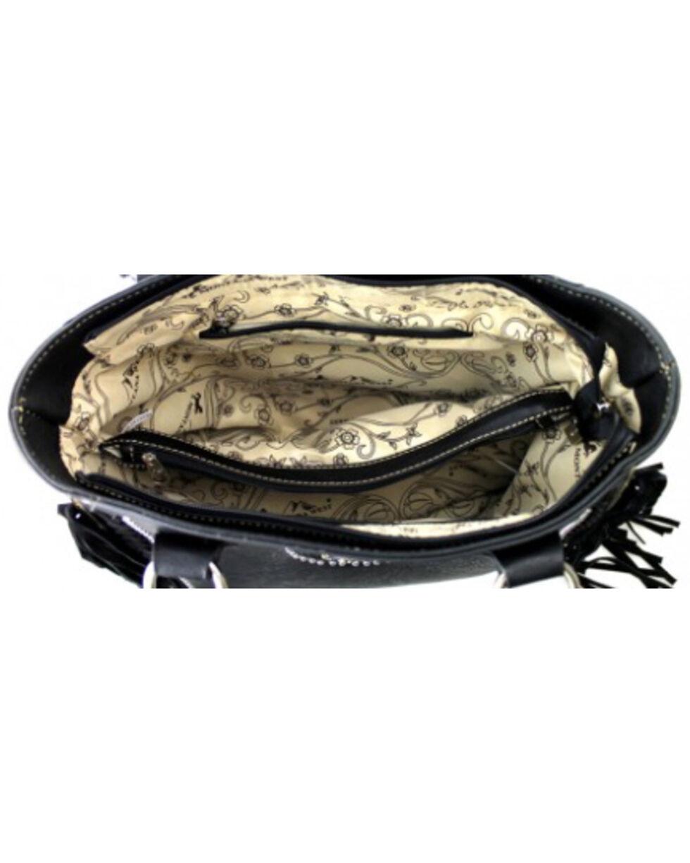 Montana West Black Fringe Collection Braided Lacing Satchel, Black, hi-res