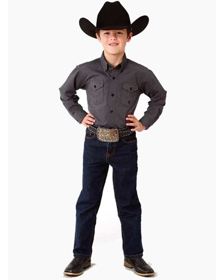 Roper Boys' Solid Button Long Sleeve Western Shirt , Grey, hi-res