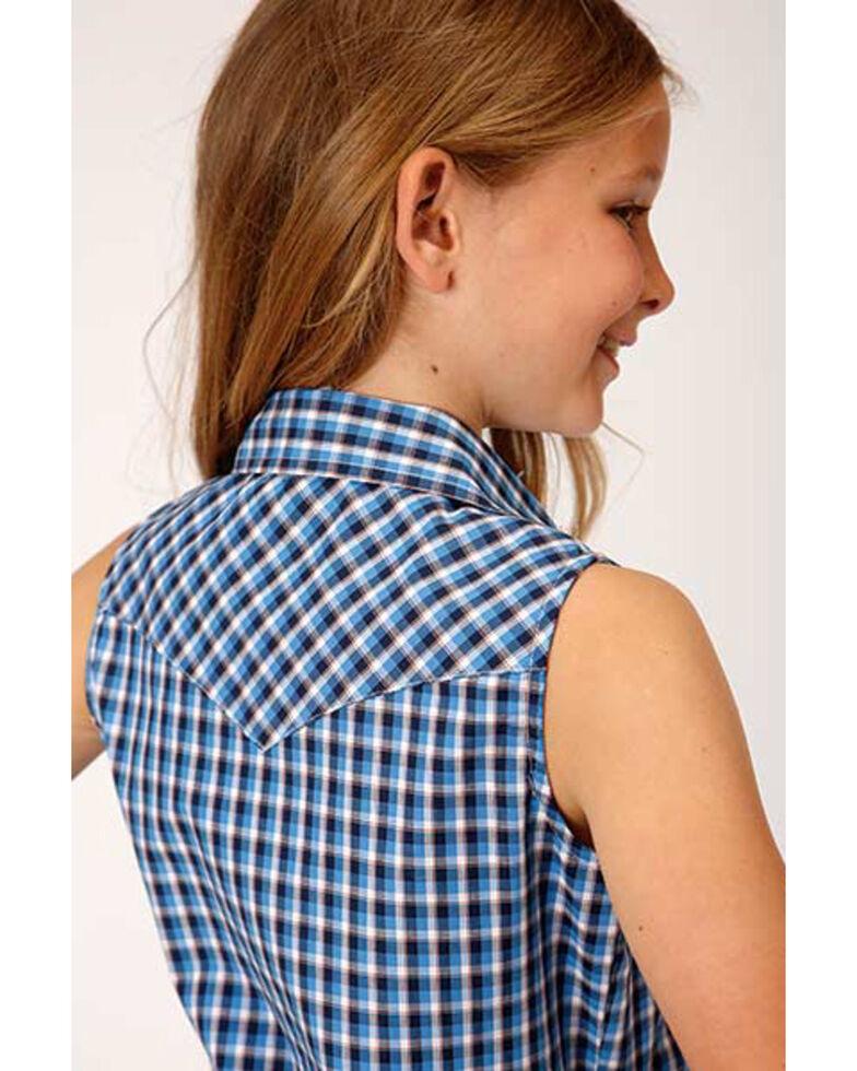 Amarillo Girls' Blue Plaid Snap Sleeveless Western Shirt , Blue, hi-res