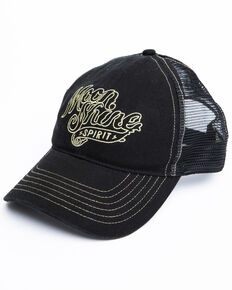 Moonshine Spirit Men's White On Black Logo Print Mesh Ball Cap, Black, hi-res