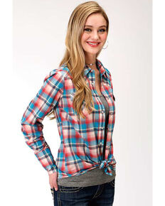 Five Star Women's Desert Sunrise Plaid Western Long Sleeve Shirt , Red, hi-res
