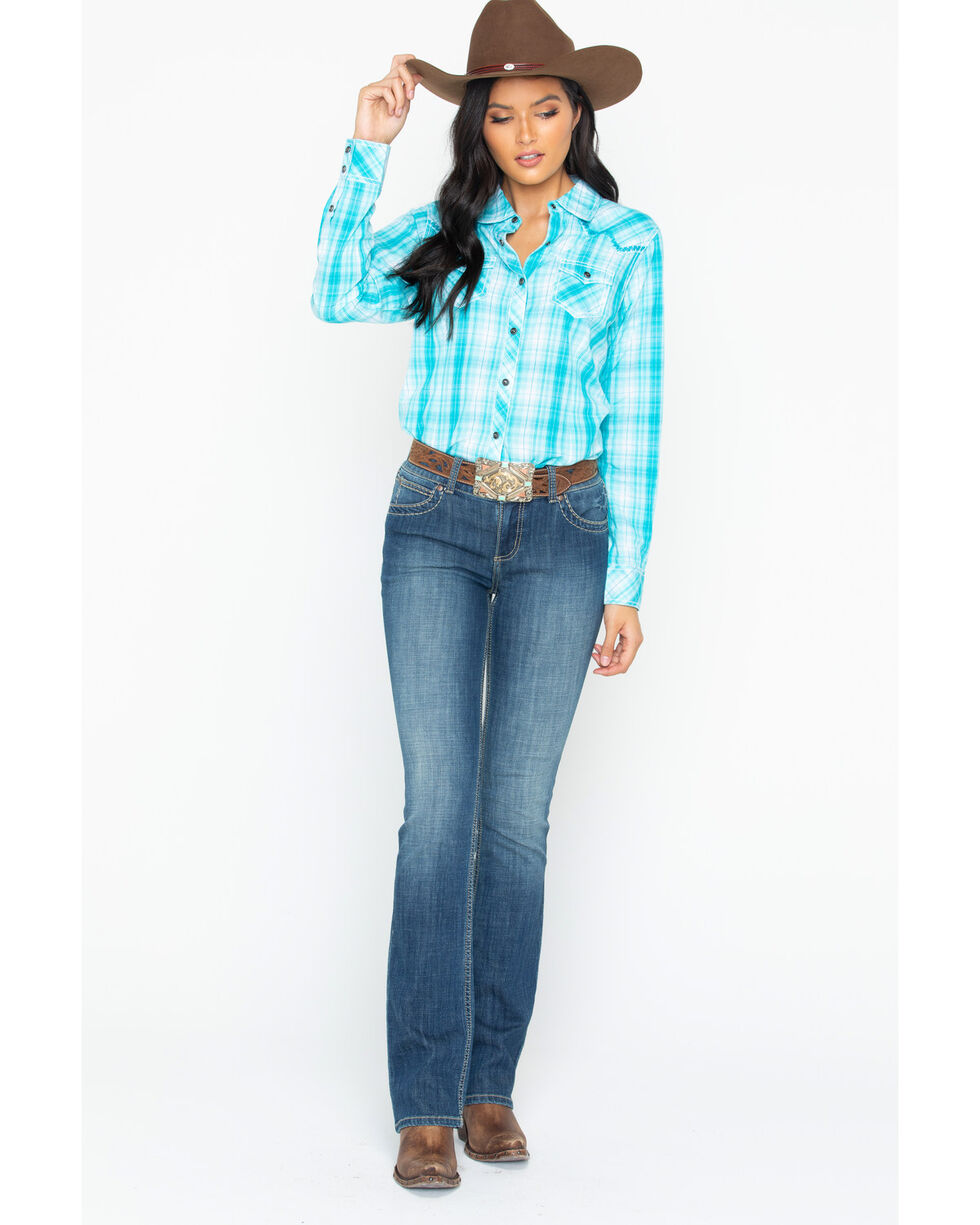 Ariat Women's Plaid Snap Shirt, Turquoise, hi-res