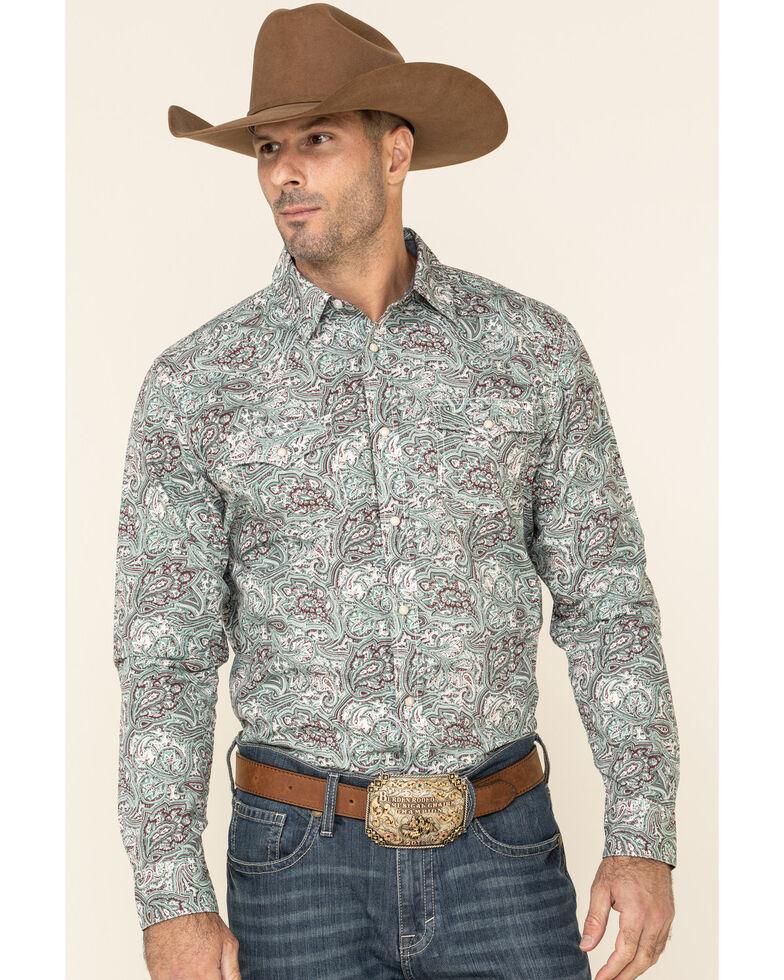Cody James Men's Grasslands Paisley Print Long Sleeve Western Shirt , Teal, hi-res