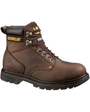 CAT Men's Second Shift Steel Toe Work Boots, Dark Brown, hi-res