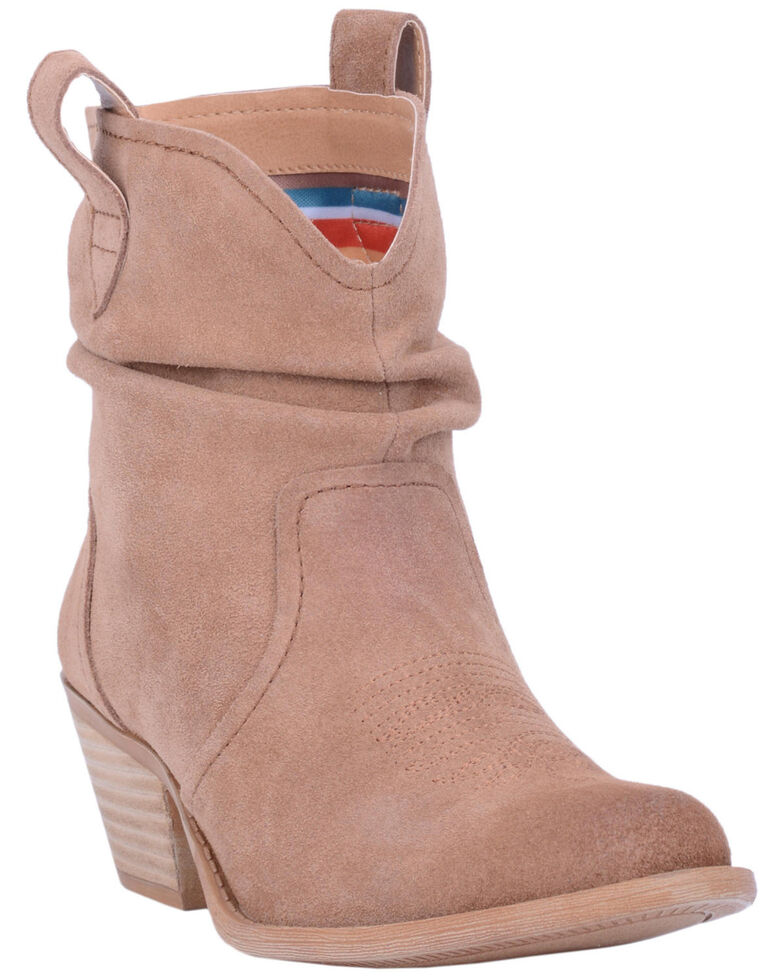 Dingo Women's Jackpot Slouch Suede Booties - Round Toe, Tan, hi-res