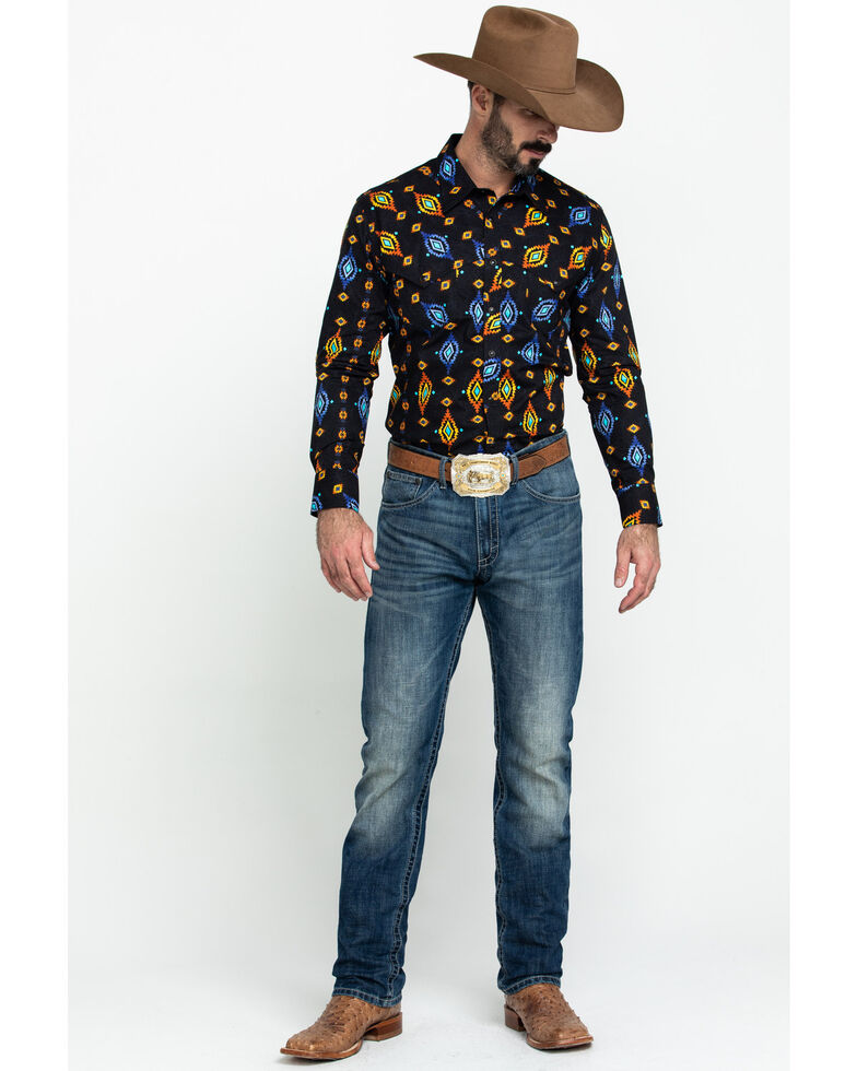 Dale Brisby Men's Aztec Poplin Print Long Sleeve Western Shirt , Black, hi-res