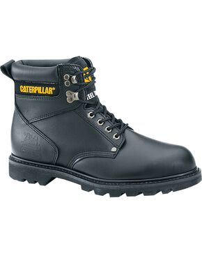CAT Men's Second Shift Steel Toe Work Boots, Black, hi-res