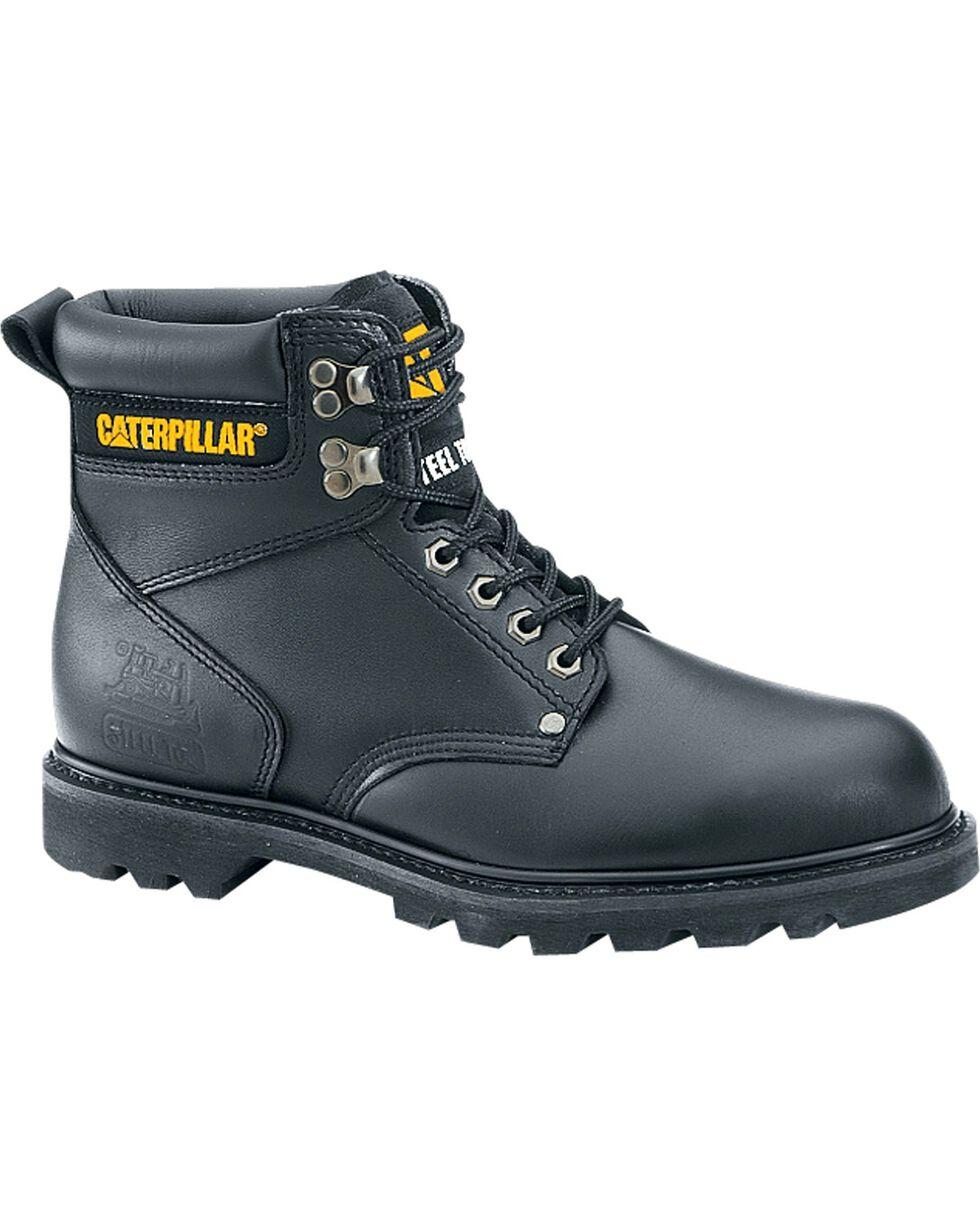 CAT Men's Second Shift Steel Toe Work Boots, Black, hi-res