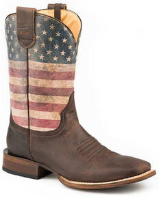 Roper Men's American Patriot Western Boots - Square Toe, Brown, hi-res