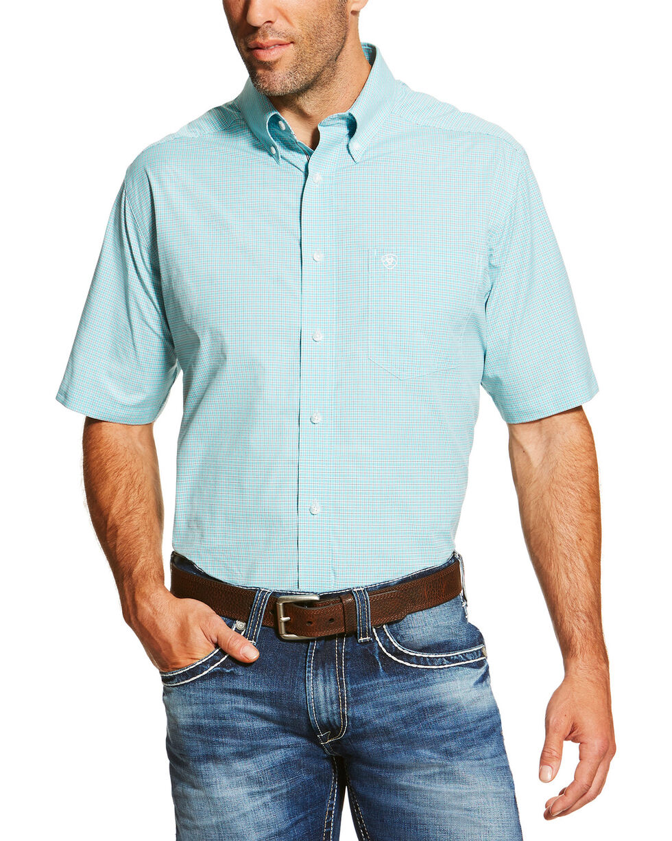 Ariat Men's Solid Print Short Sleeve Shirt, Aqua, hi-res