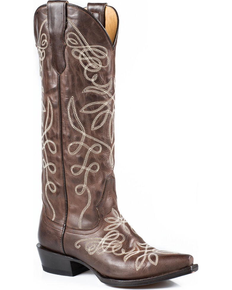 Stetson Women's Embroidered Adeline Western Boots, Brown, hi-res