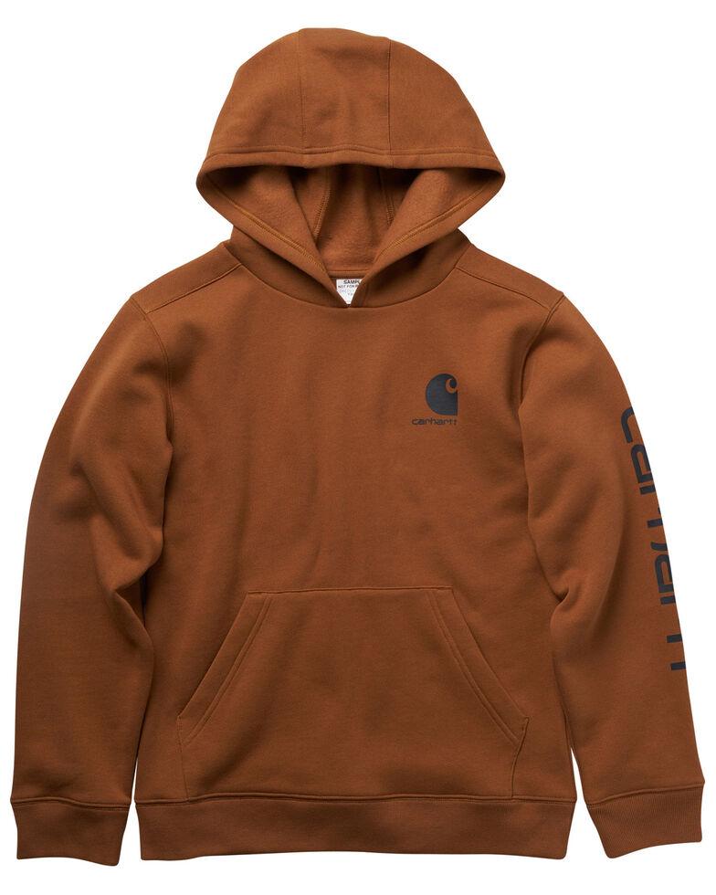 Carhartt Boys' Brown Sleeve Logo Graphic Hooded Sweatshirt , Brown, hi-res