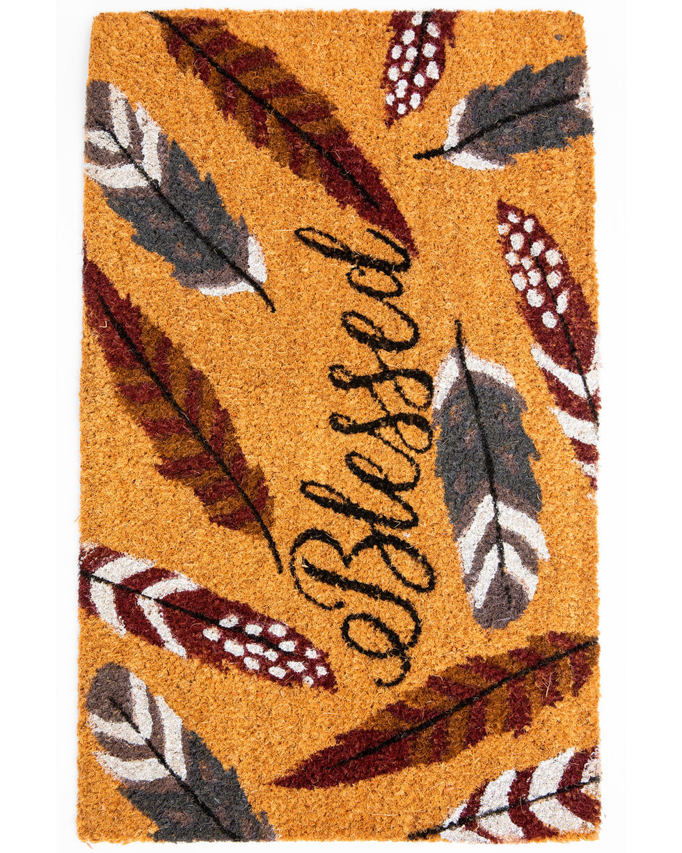 BB Ranch Glitter Blessed Doormat, Brown, hi-res
