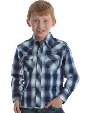 Wrangler Boys' Blue Western Fashion Plaid Shirt , Blue, hi-res