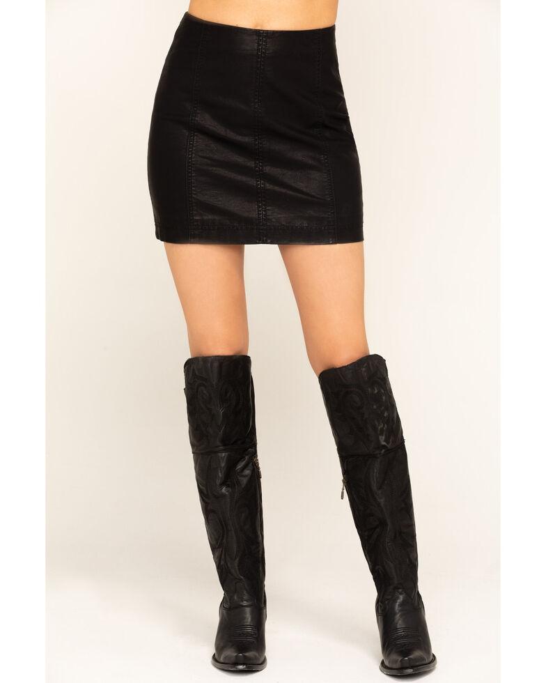 Free People Women's Modern Femme Vegan Mini Skirt , Black, hi-res