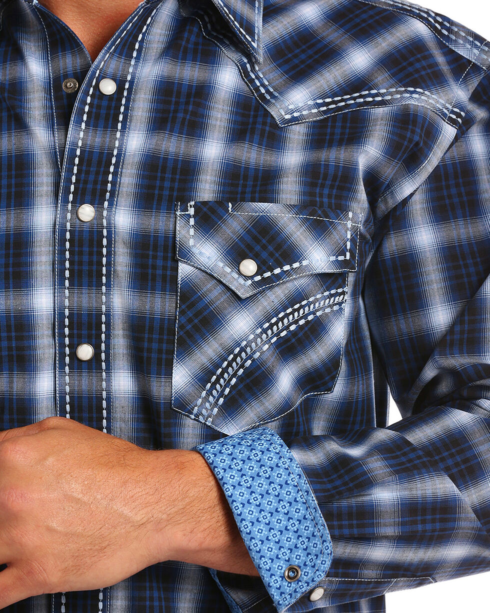 Rough Stock by Panhandle Men's Blue Castle Peak Shirt , Blue, hi-res