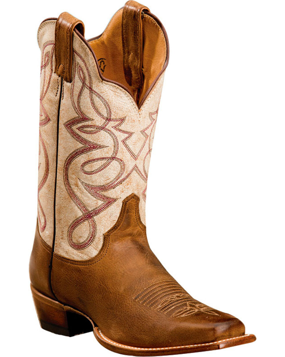 Justin Women's Two Toned Embroidered Western Boots, Brown, hi-res