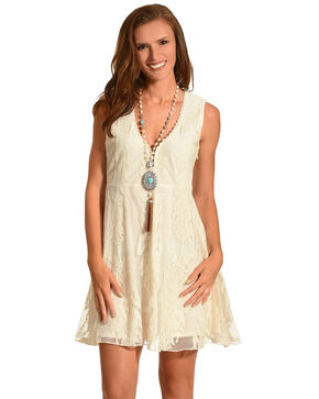 Shyanne® Women's Allover Lace Sleeveless Dress, Natural, hi-res