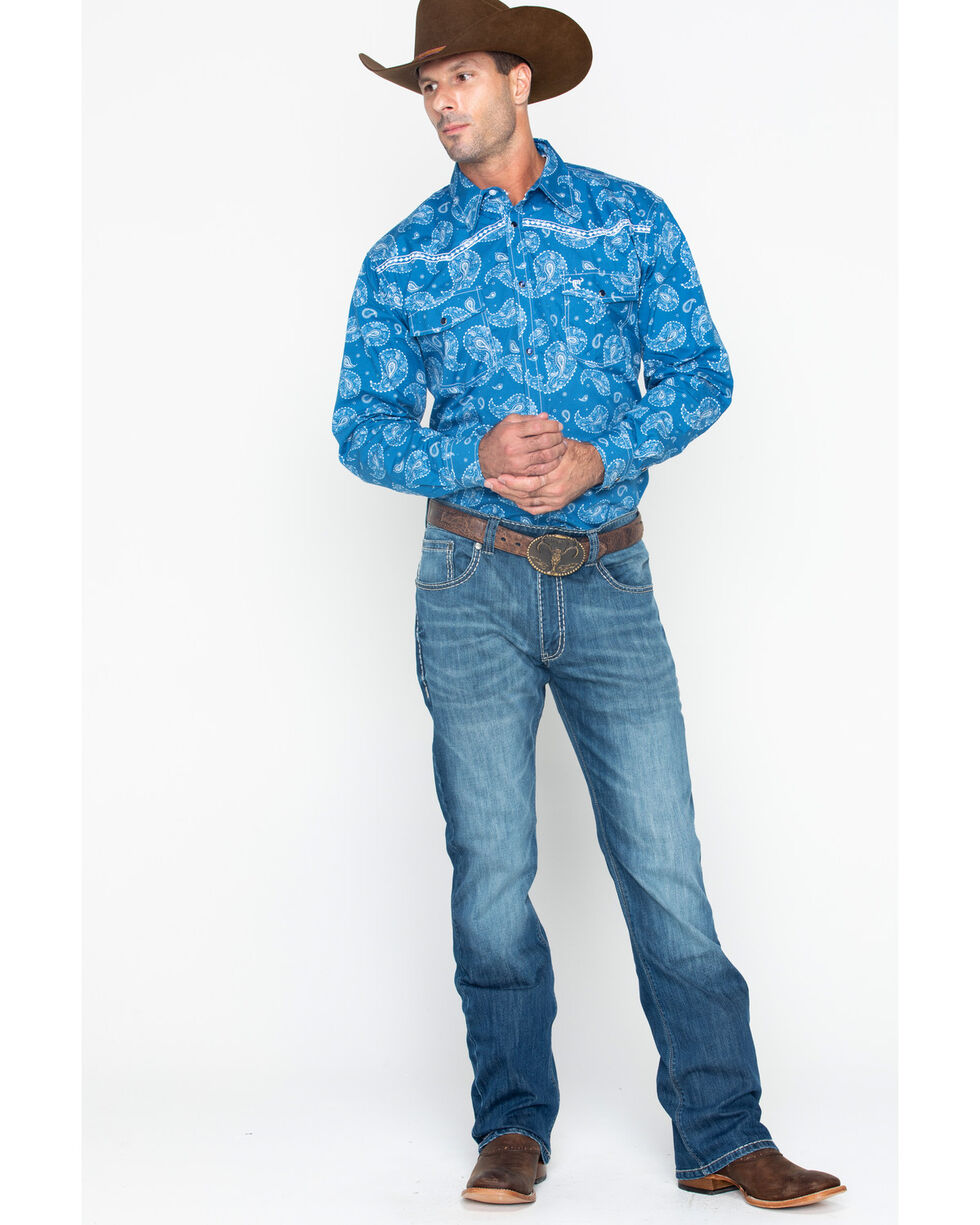 Cowboy Hardware Men's Paisley Print Long Sleeve Shirt , Blue, hi-res