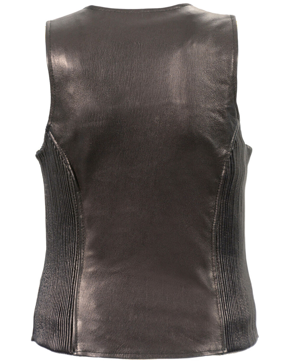 Milwaukee Leather Women's Black Lightweight Front Zipper Conceal Carry Vest - 5X , Black, hi-res