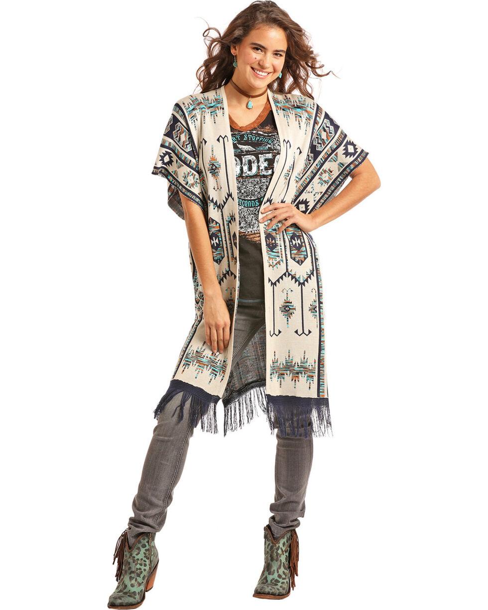 Powder River Outfitters Women's Cream Aztec Sweater Kimono , Cream, hi-res
