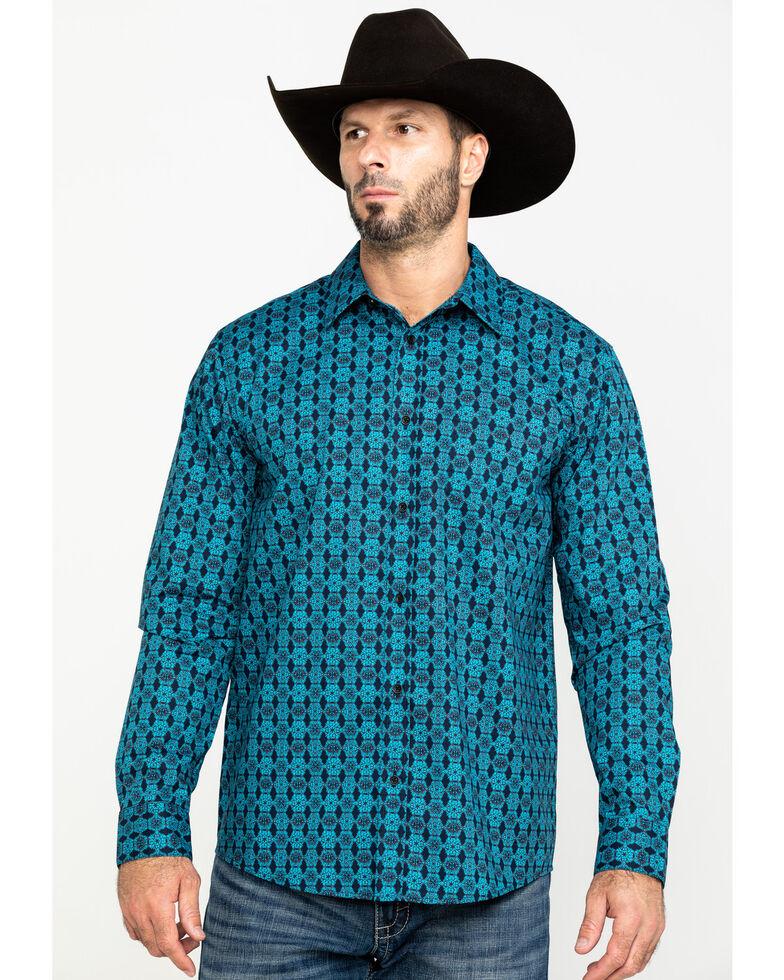 Gibson Men's Emblem Floral Geo Print Long Sleeve Western Shirt , Navy, hi-res