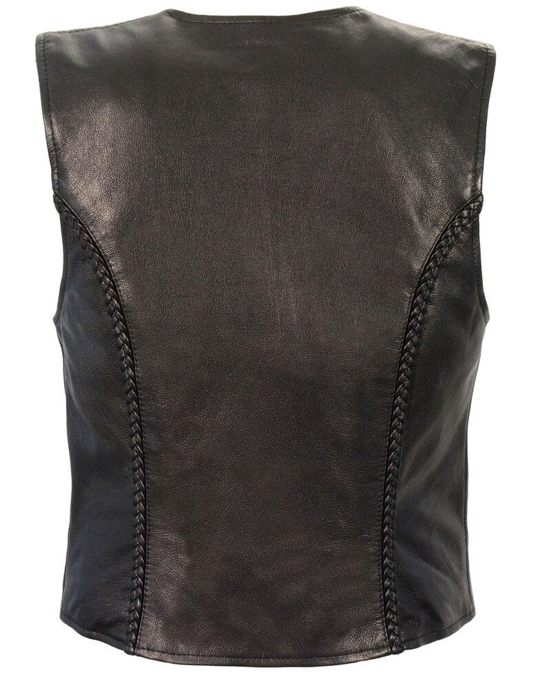 Milwaukee Leather Women's Lightweight Zipper Front Braided Vest - 5X, Black, hi-res
