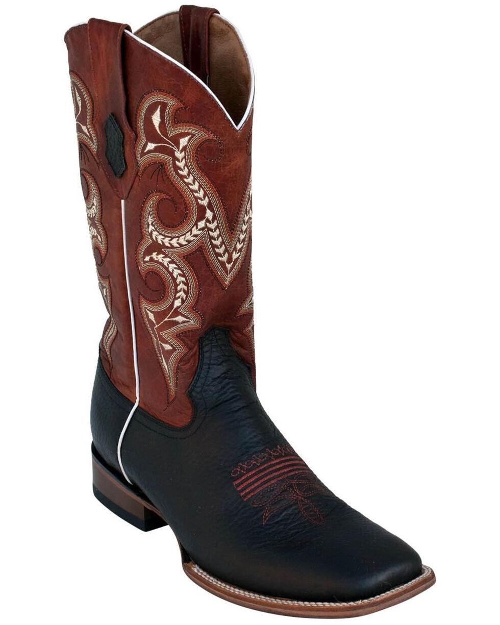 Ferrini Men's Black Cowhide Western Boots - Square Toe, Black, hi-res