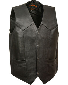 Milwaukee Leather Men's Black Classic Snap Gun Pockets Vest , Black, hi-res