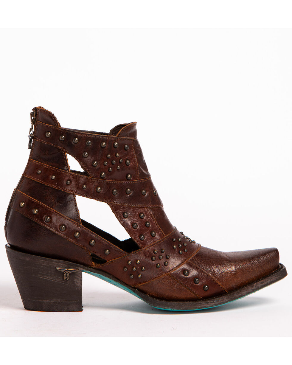 Lane Women's Brown Studs & Straps Fashion Boots - Snip Toe , Brown, hi-res