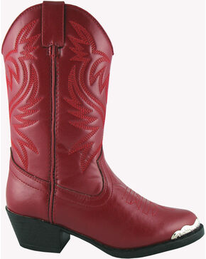 Smoky Mountain Toddler Girls' Mesquite Western Boots - Round Toe, Red, hi-res