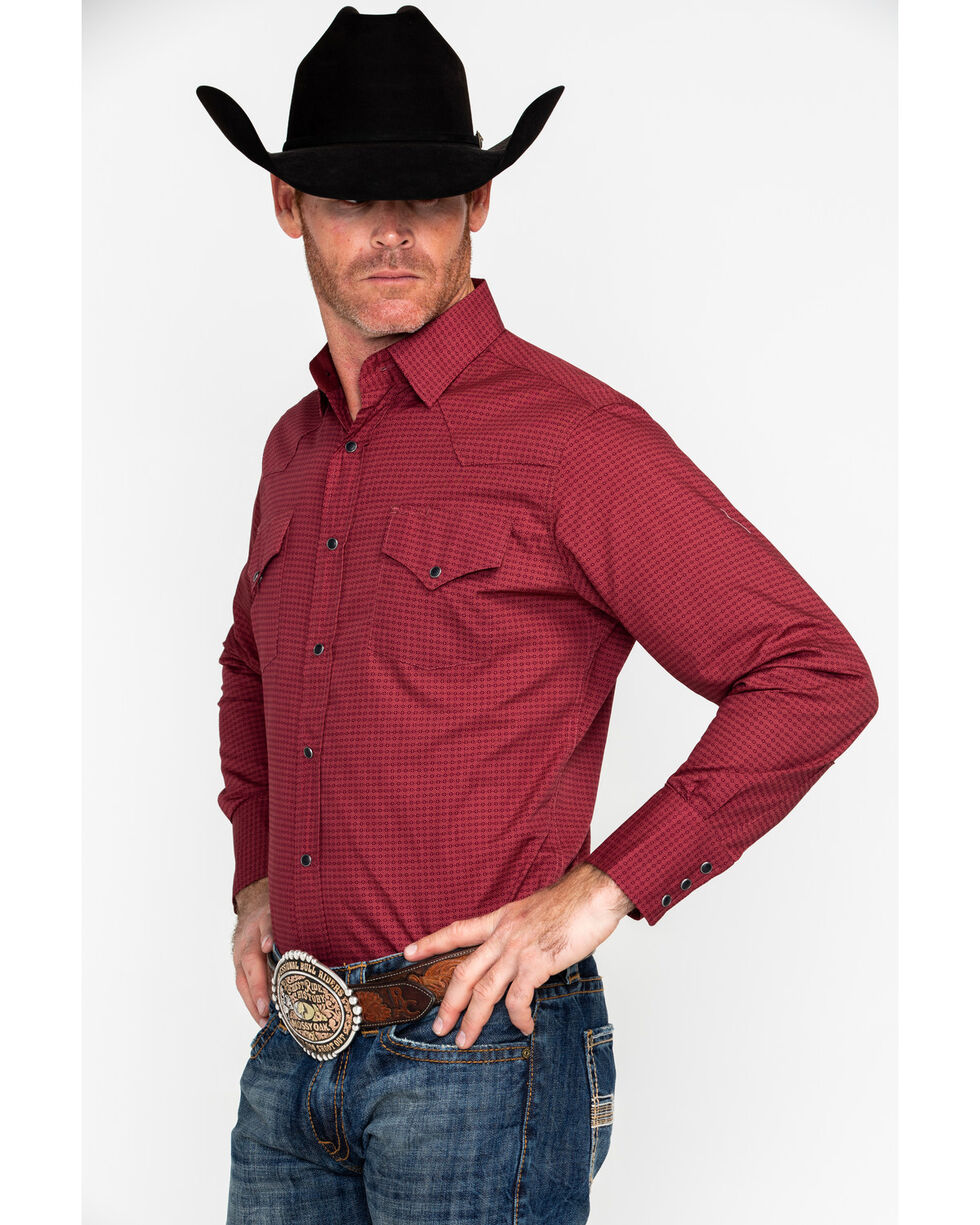 Ely Cattleman Men's Western Woven Ditzy Print Shirt , Burgundy, hi-res