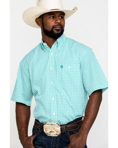 George Strait by Wrangler Men's Green Geo Print Short Sleeve Western Shirt , Green, hi-res