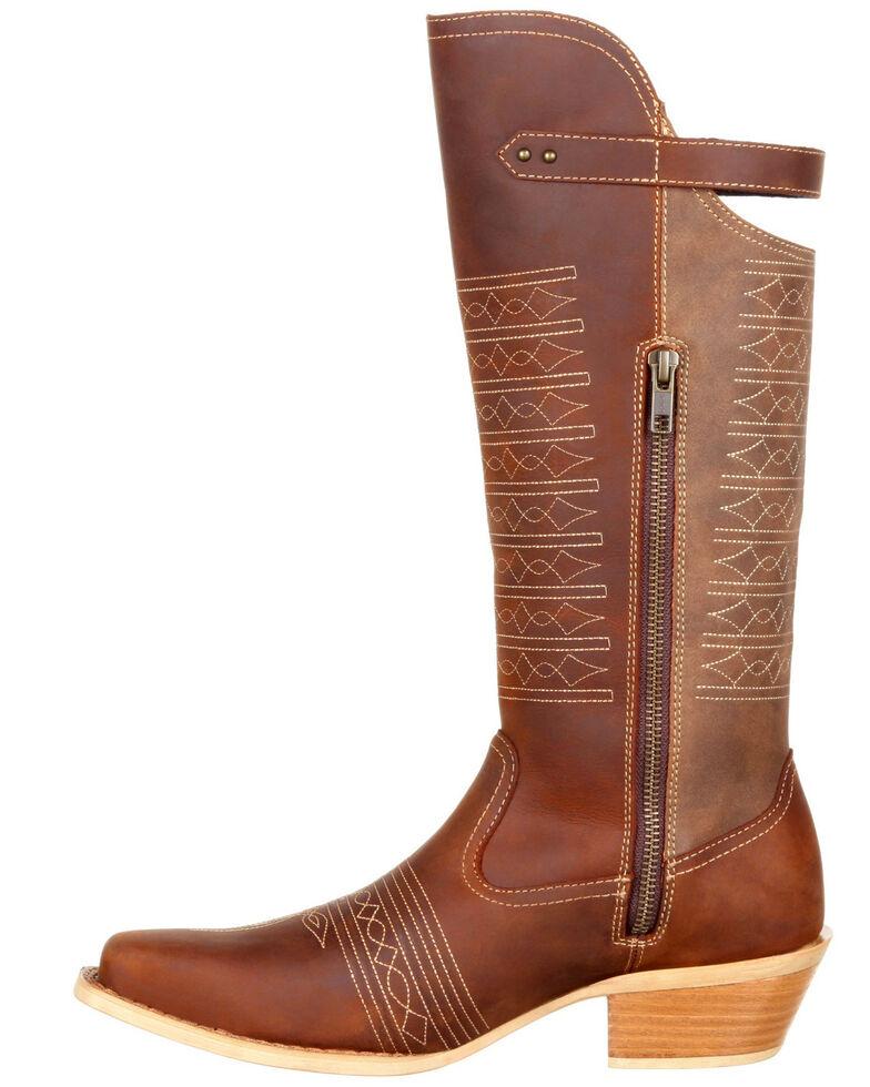Durango Women's Crush Belted Collar Western Boots - Snip Toe, Chestnut, hi-res