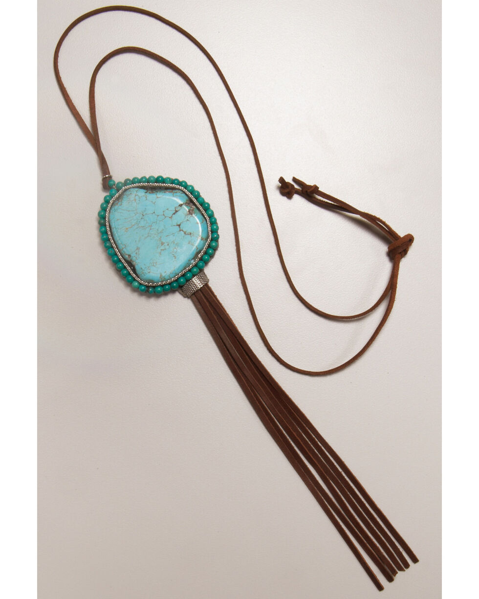 Cowgirl Confetti Women's Four Winds Fringe Necklace , Turquoise, hi-res