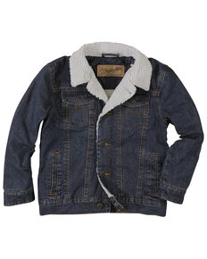 Wrangler Boys' Rustic Sherpa Lined Denim Jacket , Blue, hi-res